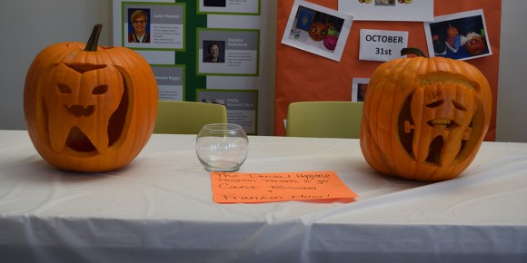 Photo by Tom Warner |  The winning pumpkins carved by the Parkland Dental Hygiene Club sit on display during the 2017 Pennies for Pumpkins Competition in the U-wing on Oct. 31.