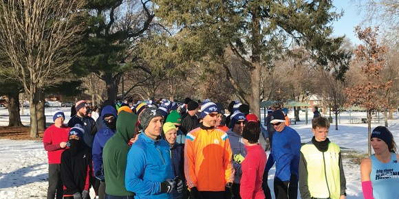 Photo by David Saveanu   Participants in the Champaign Park District's Frozen 5k prepare for the race at the starting line, Jan. 20, 2018.