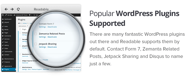 Popular plugins supported