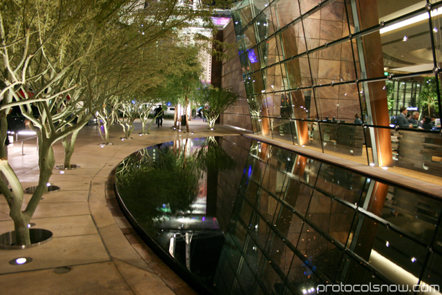 Aria CityCenter complex Las Vegas resort casino hotel reflecting water pool park