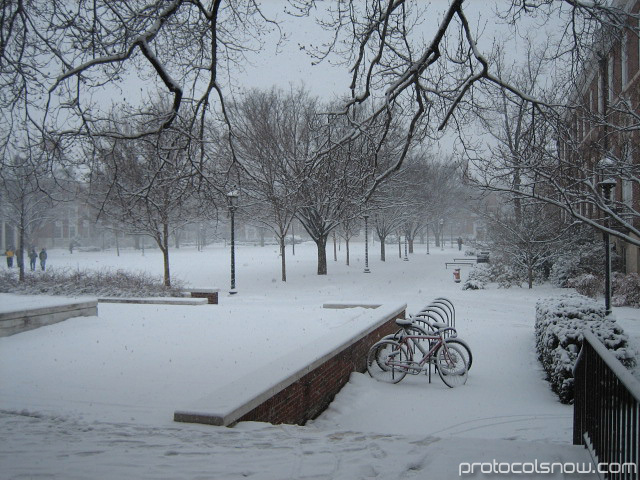 Johns Hopkins University snow campus bicycle