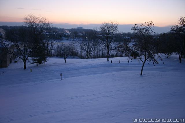 Snow frozen lake view