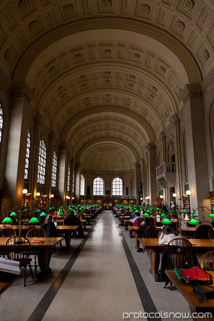 Boston Public Library Bates Hall study reading room McKim building