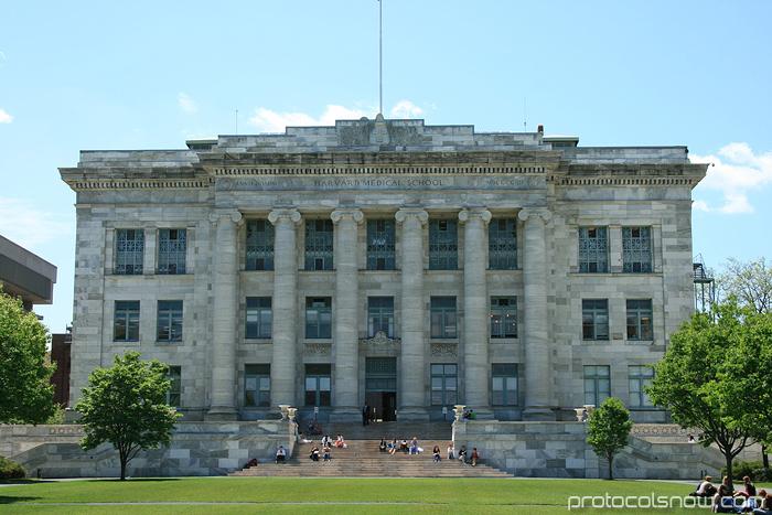 Harvard Medical School quad marble buildings