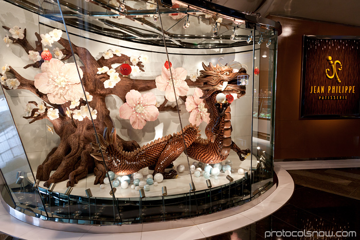 Las Vegas Chinese New Year dragon decorations celebration Aria hotel casino Chocolate dragon J