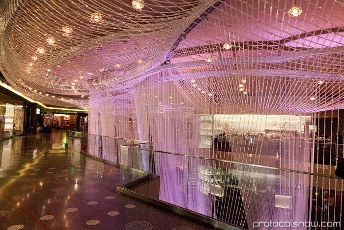 Luxury Las Vegas Chinese New Year dragon decorations celebration Cosmopolitan chandelier lounge bar hotel casino