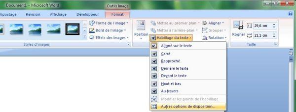 Capture d'écran - Word 2007, choix de l'habillage du texte
