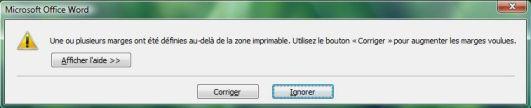 Capture d'écran - Word 2007, message d'avertissement