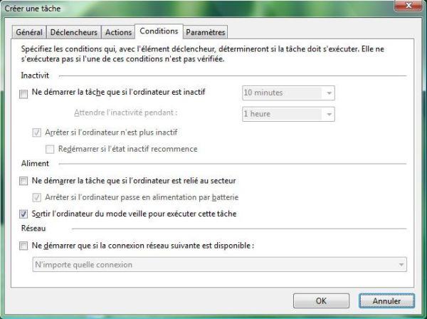 Capture d'écran - Planificateur de tâches, onglet Conditions