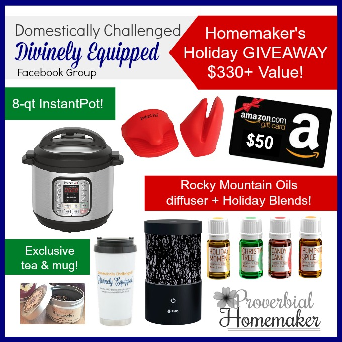 Enter to win the Homemaker's Holiday Giveaway from the Domestically Challenged, Divinely Equipped FB Group! Includes InstantPot, Rocky Mountain Oils (RMO) and more!