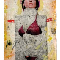 "Lars Pryds: ""Papkasse-Pin-up #1"", 2005. Akryl/collage på papir, 19x14 cm."