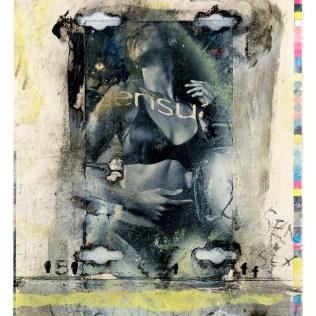 "Lars Pryds: ""Be Sensual"", 2001. Maleri/collage på papir, 31 x 23,5 cm."