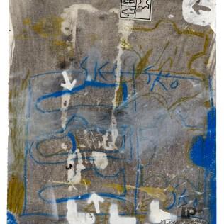 """Lars Pryds: """"SKO"""", 2012. Acryl/Collage på papir, 28 x 23 cm. Foto: Lars Pryds."""