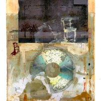 "Lars Pryds: ""Brev fra Antoni"", 2009. Acryl/collage påŒ papir, 28x23 cm."