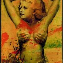 """Lars Pryds: """"Hommage à Harlow #11"""", 2013. Collage, acryl, tusch, polymer-transfer og lak på pap, ca 15 x 10,6 cm."""