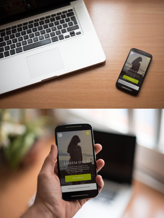 Smartphones and Notebook Mockup - Free PSD