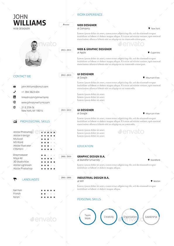 Impeccable Resume Templates Word Psd Indd Ai Download