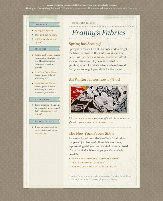 Fabric Email Newsletter Template