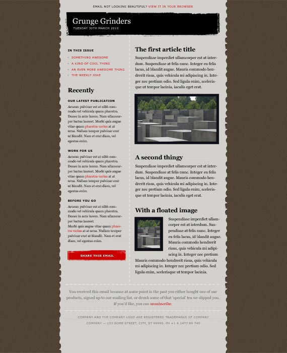 Grunge Email Newsletter Template