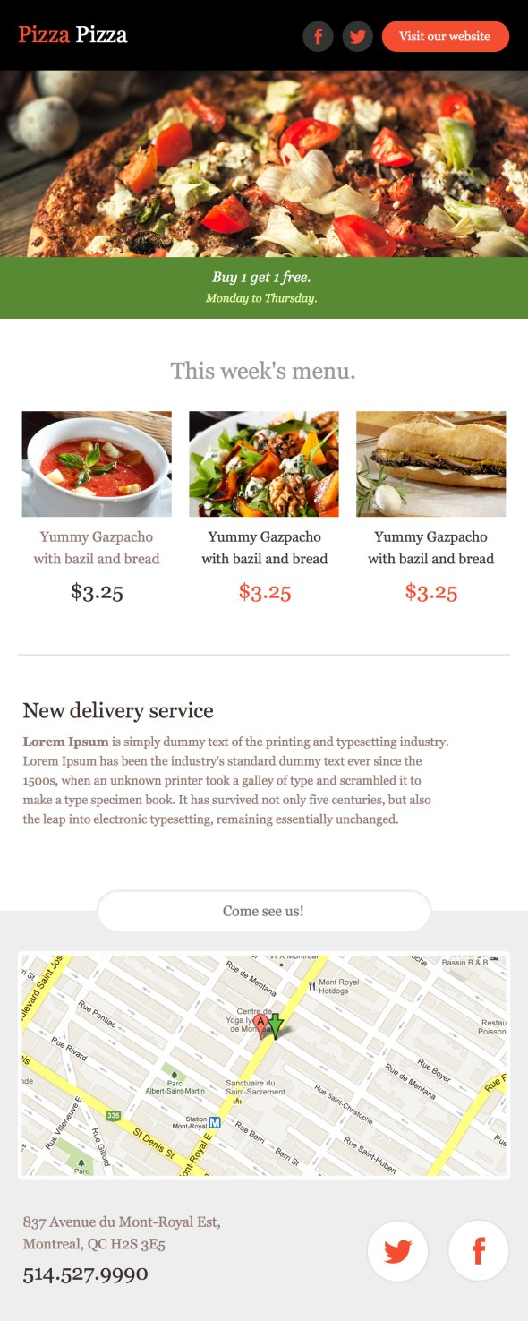 Pizza Email Newsletter Template