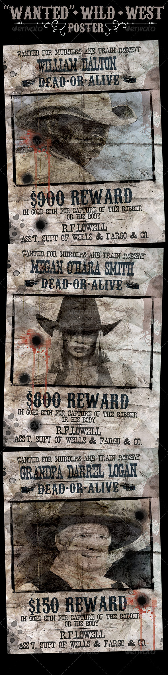 Wild West Style Wanted Poster Template