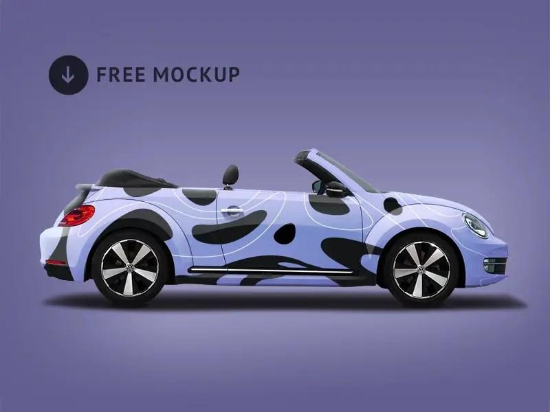 Free Volkswagen Beetle Branding Mockup PSD