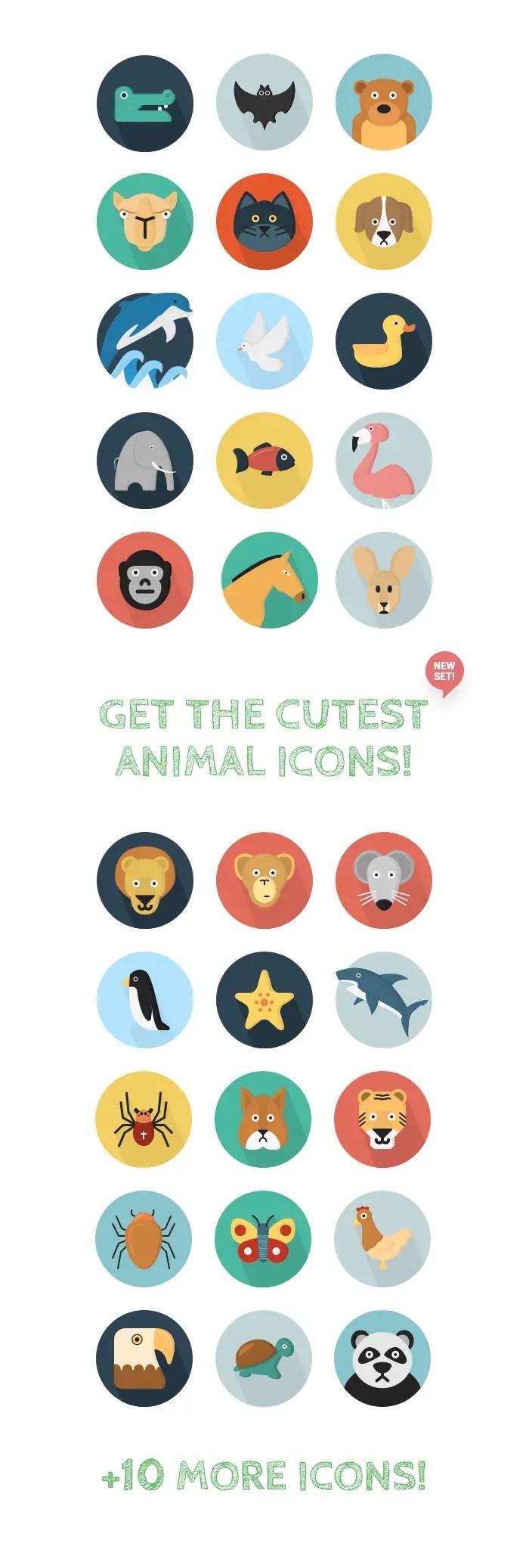 40 Flat Animal Icons