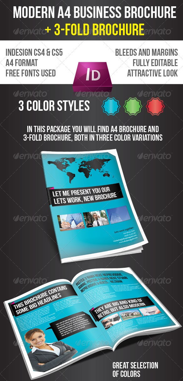 65 print ready brochure templates free psd indesign ai for A4 tri fold brochure template