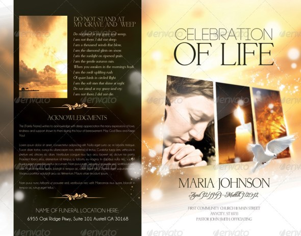 Celebration of life - Funeral Program Brochure Template