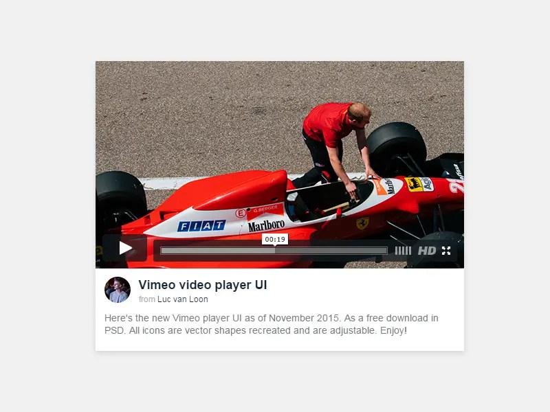 Free Vimeo player UI PSD