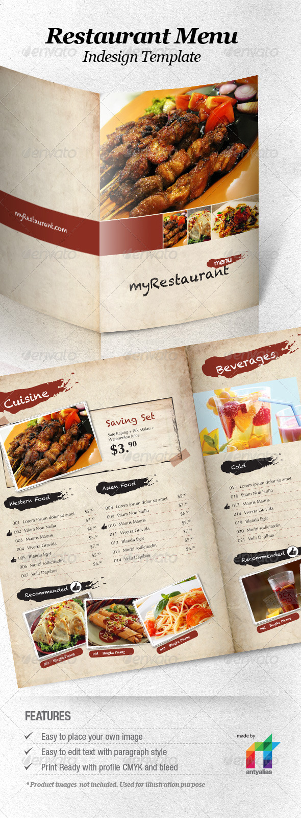 40 psd indesign food menu templates for restaurants psdtemplatesblog. Black Bedroom Furniture Sets. Home Design Ideas