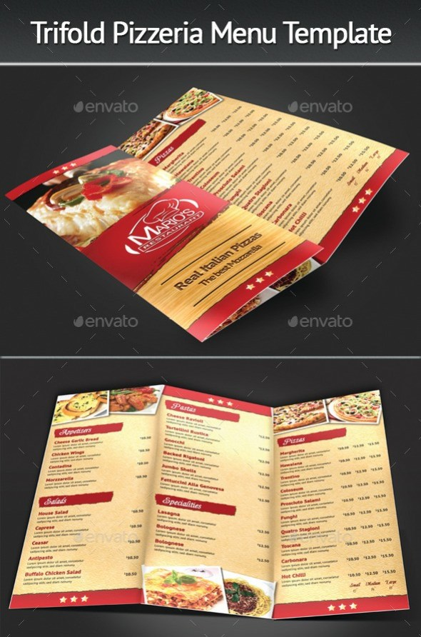 Tri-Fold Pizzeria Menu Template