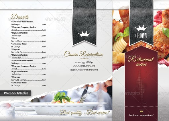 Psd  Indesign Food Menu Templates For Restaurants