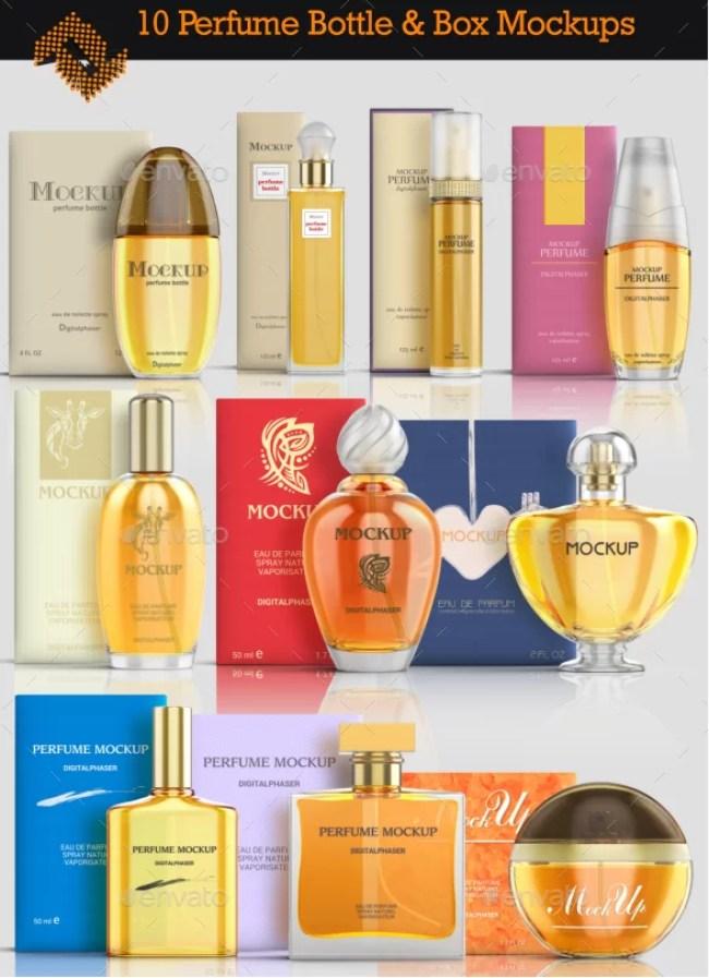 10 Basic Perfume Bottles & Boxes Mockup