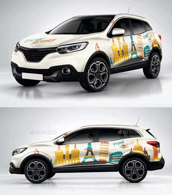 Photorealistic French Crossover car Wrap Mockup