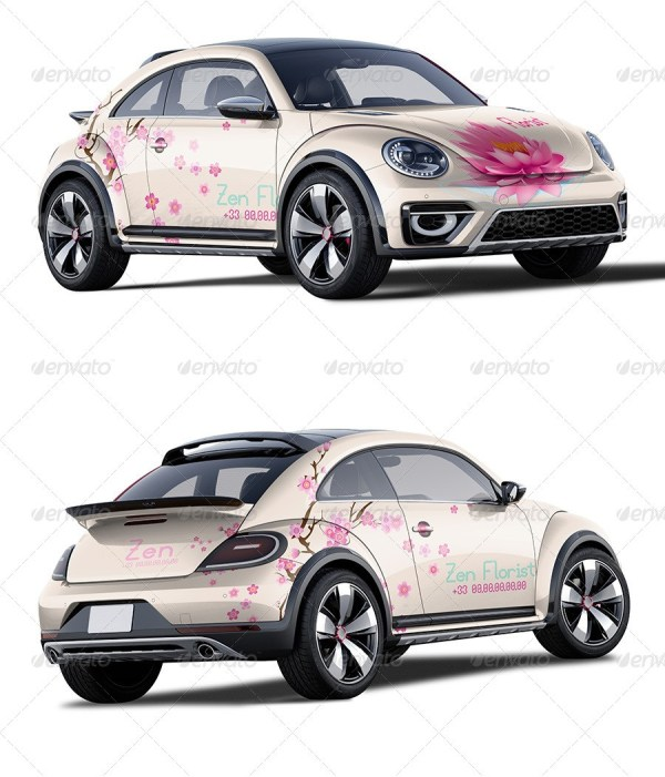 Photorealistic Girly Car Mockup
