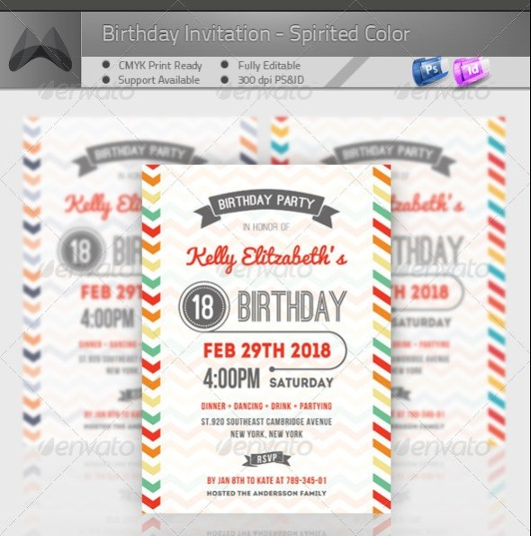 Birthday Invitation - Spirited Color