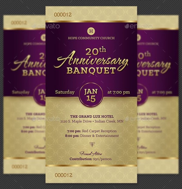 Church Anniversary Banquet Ticket Template