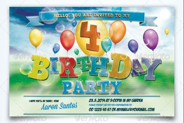 32 Best Birthday Invitation Templates PSD Download – Kids Party Invite Template