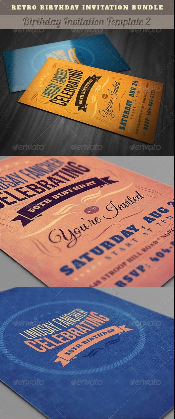 Best Birthday Invitation Templates PSD Download PSDTemplatesBlog - Retro birthday invitation template