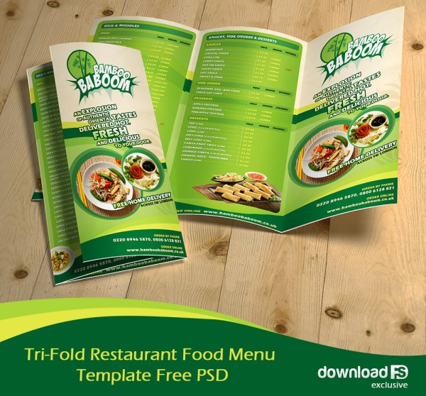 Free Tri-Fold Restaurant Food Menu Brochure Template