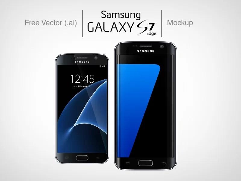 Free Vector Ai Samsung Galaxy S7 & S7 Edge Mockups