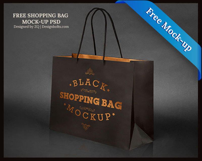 great black shopping bag mockup psd free version