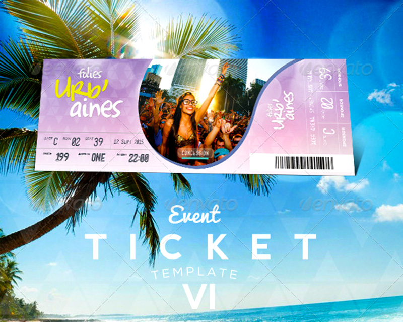 nice design event ticket template mockup psd