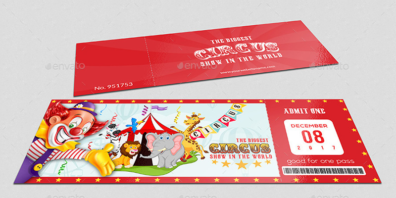 unique premium psd circus event ticket template