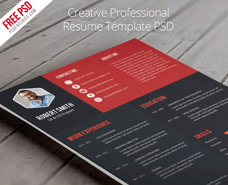 free download awesome PSD resume templates