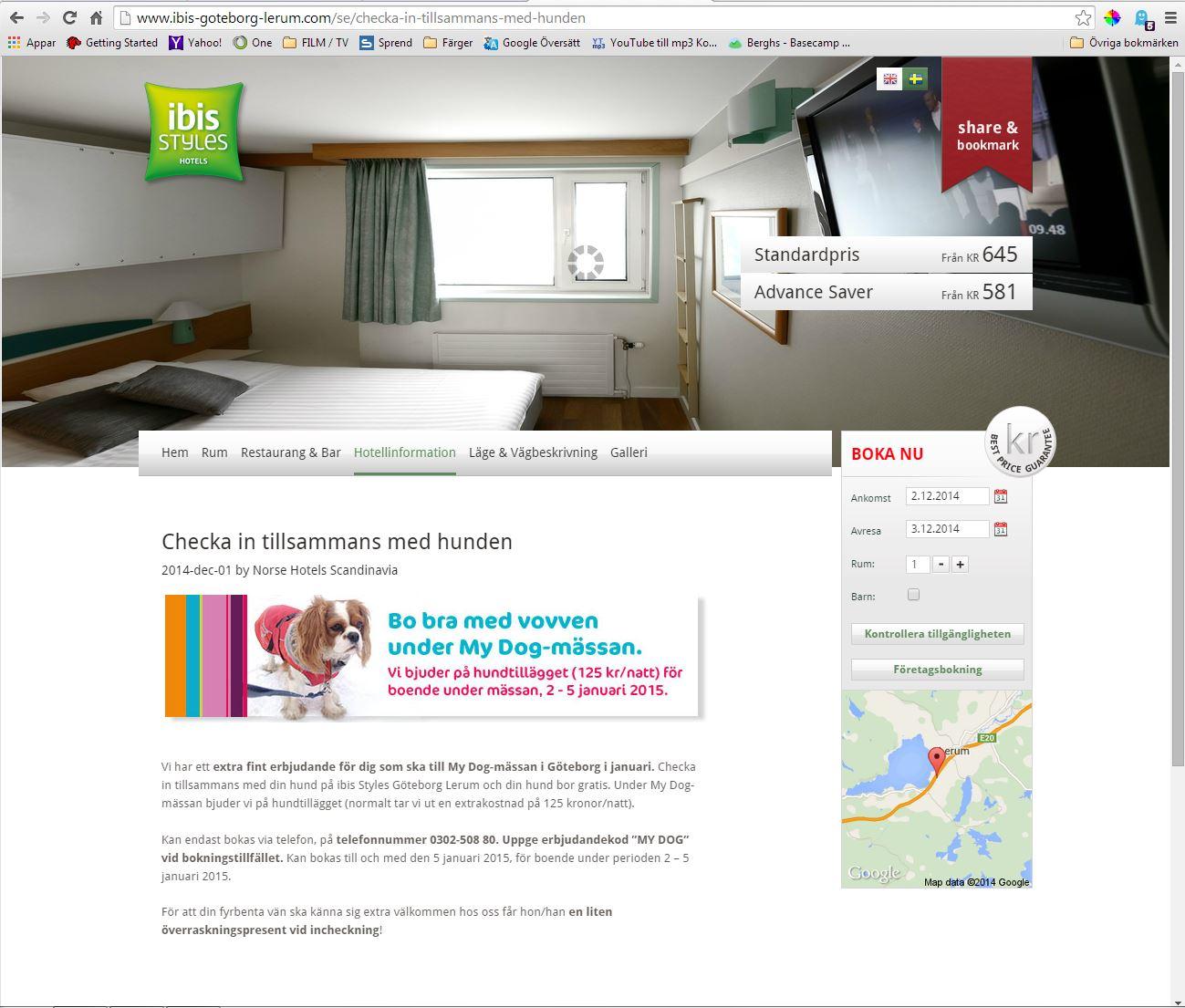 Landningssida på ibis Styles hemsida.