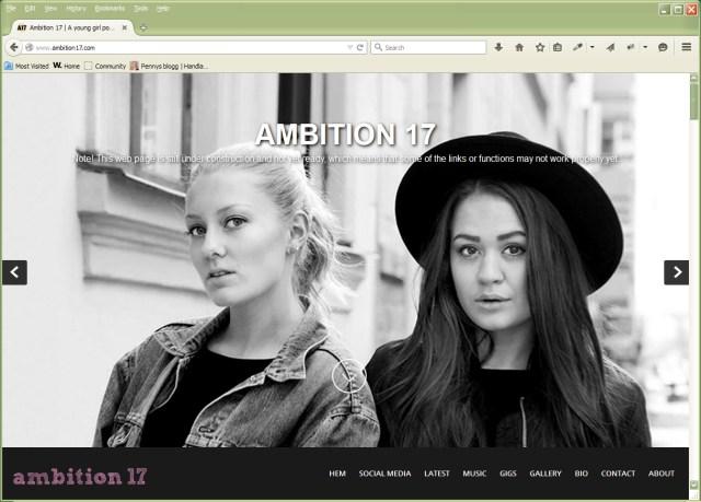 Skärmdump på hemsida jag håller på att skapa.