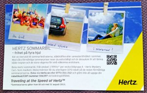 Annons med info om Hertz sommarkampanj