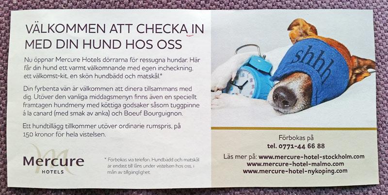 Annons med info om Mercure Hotels nya hundkoncept